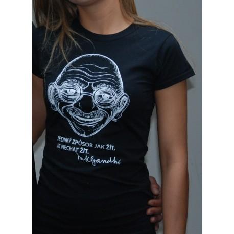 Dámské tričko Gándhí černé